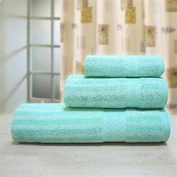 """Махровое полотенце """"Полоса бамбук"""" 33x70 аква. (Б+Х) - фото 24081"""