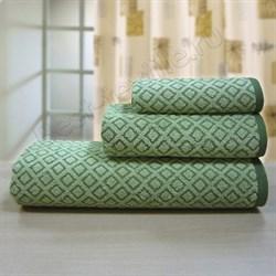 """Махровое полотенце """"Ромб"""" олив. 33x70 (Х) - фото 24795"""