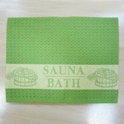 """Вафельное полотенце """"Сауна"""" зелен. 100х160 (Х) - фото 25117"""