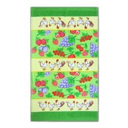 """Кухонное махровое полотенце """"Петушок и Фрукты"""" зел. - фото 26428"""