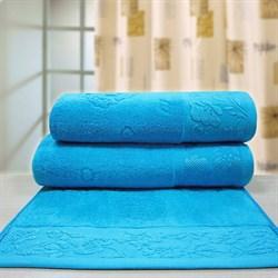 """Махровое полотенце """"Ромашка"""" син. 33x70 - фото 26599"""