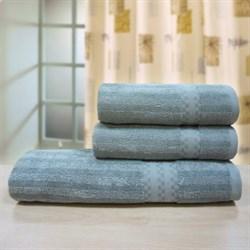 """Махровое полотенце """"Полоса бамбук"""" 33x70 серый (Б+Х) - фото 26752"""