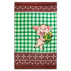 Махровое полотенце ВТ Кухня Свинка 30* 50 зеленое - фото 29417