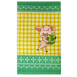 Махровое полотенце ВТ Кухня Свинка 30* 50 желтое - фото 29419