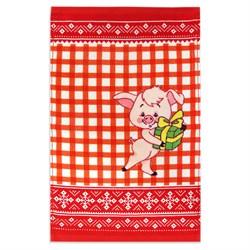 Махровое полотенце Кухня Свинка 30* 50 красное - фото 29429