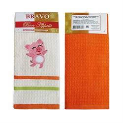 Набор полотенец Бон Аппетит Новогодние 40* 60 2 шт оранжевые - фото 29449