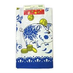 Вафельное Полотенце 48*62 Свинка-копилка синяя - фото 29452