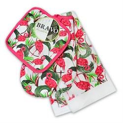 Набор кухонный К прихватка + салфетка + рукавица Фламинго - фото 29545