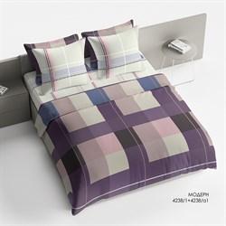 Комплект постельного белья 1.5 Браво Сатин рис.4238-1+4238а-1 Модерн - фото 30187