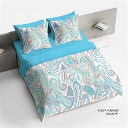 Комплект постельного белья 1.5 Браво Сатин рис.4368-1+4368а-1 Мумбаи - фото 30648