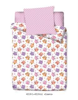 Комплект постельного белья с простыней на резинке  60*120*15 Маленькая Соня Совята - фото 30733