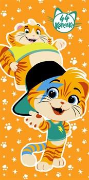 Махровые полотенца 44 Котёнка Мальчики M 60*120 оранж - фото 31209