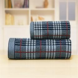 Махровые полотенца Каро 70*140 син - фото 31245