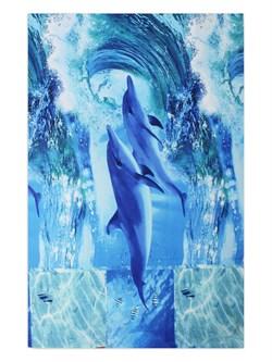 Вафельное полотенце 100*150 Дельфины - фото 31712