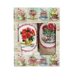 Набор салфеток 2шт двойка - Цветы в чашке, аппликация Д-808 ДТ - фото 36160
