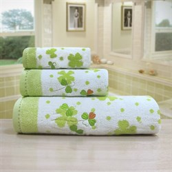 """Махровое полотенце """"Клевер"""" зел. 70x140"""