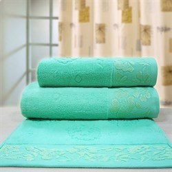 """Махровое полотенце """"Ромашка"""" зел. 50x90"""