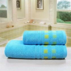 """Махровое полотенце """"Каприз"""" голуб. 65x130 (Х)"""