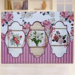 """Кухонный набор полотенец """"Цветы-сердечки"""" 3пр."""