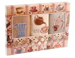 """Кухонный набор полотенец """"Кофейники"""" 3пр."""
