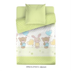 Комплект постельного белья с простыней на резинке 60*120*15 Маленькая Соня Друзья (зеленый)