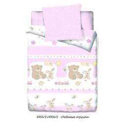 Комплект постельного белья с простыней на резинке 60*120*15 Маленькая Соня любимые игрушки (розовый)