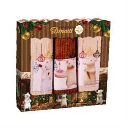 Набор салфеток 3шт вафельные с вышивкой Мышки и ёлочные шарики