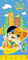 Махровые полотенца 44 Котёнка Лампо М  60*120 син