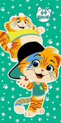 Махровые полотенца 44 Котёнка Мальчики M 60*120 зел