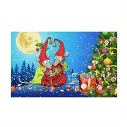 Кухонные полотенца Домовенок 38*64 микрофибра Крысята новогодние