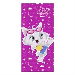 Махровые полотенце 44 Котёнка Миледи  М  60*120 фукс