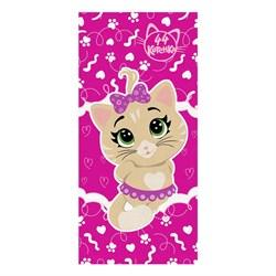 Махровые полотенца 44 Котёнка Пилу S  33* 70 фукс