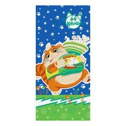 Махровые полотенца 44 Котёнка Пончик S  33* 70 син