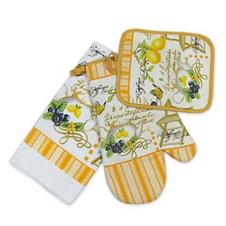 Набор кухонный К прихватка + салфетка х/б + рукавица Лимон ИКР