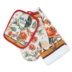 Набор кухонный К прихватка + салфетка м/ф + рукавица Цветы ИКР