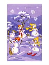 Махровое полотенце ВТ Кухня Снеговики м1203_17 S  30* 50 фиол